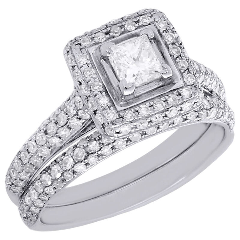 Princess Cut Solitaire Diamond Bridal Set 14k White Gold Engagement Ring 1.25 Ct
