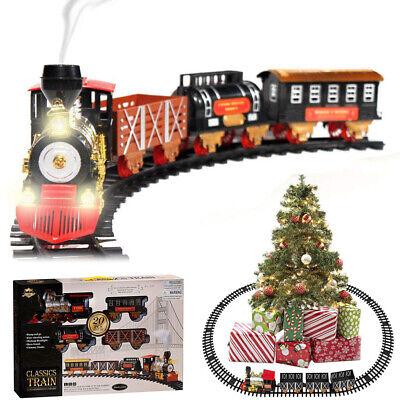 Large Electric Christmas Train Tracks Set Lights Sound Smoke Kids Toy Tree Decor