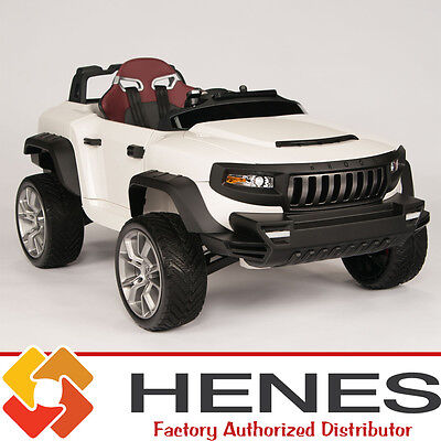 HENES BROON T870 Kids Ride On Jeep 24V Battery Power Wheels Remote Control White