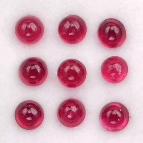 3MM Round 6PCS Calibrated Cabochon Natural Gemstone Red Ruby
