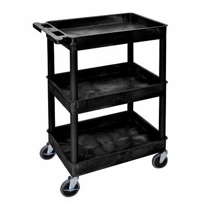 Luxor Tub Cart 3-shelf Black Plastic - 24l X 18w X 39 14h Stc111-b