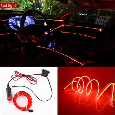 2M Red LED Car Interior Decor Atmosphere Wire Strip Light Lamp Car...