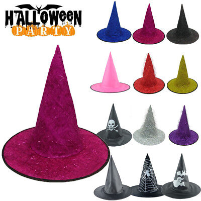 Adult Womens Mens Witch Hat For Halloween Costume Accessory Fluff Solid - Witch Hats For Adults
