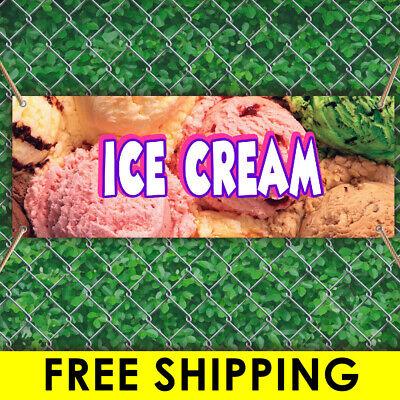 Ice Cream Advertising Vinyl Banner Flag Sign Many Sizes Carnival Free Grommets