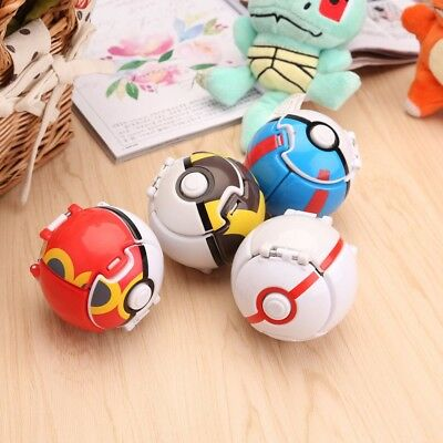 4Pc Pokemon Throw Pop PokeBall Cosplay Pop-up Elf Go Fighting Poke Ball Kid Toys