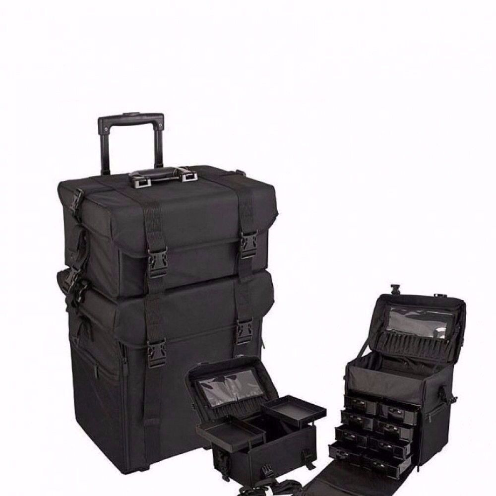 Black Lightweight Nylon Trolley Artist Case with Wheels and Extra Storage