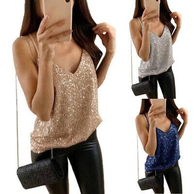 Women Sexy V-Neck Top Cami Glitter Sequins Vest Shirt Spaghetti Strap - Glitter Cami Top