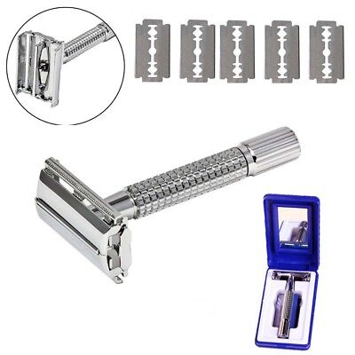 Shaving Razor Blades Safety Shaver Classic Double Edge Chrome W/ Free 5 Blades