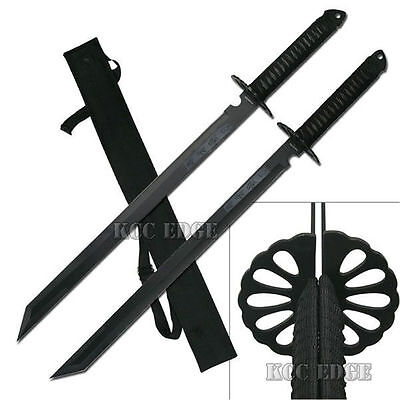 "2PC Full Tang 28"" Zombie Walking Dead Tanto Blade Sword Machete w/Nylon Sheath"