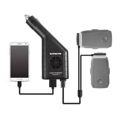 Dji Mavic 2 Enfoque Pro Coche Cargador Adaptador Para 2 Batería+1 RC...