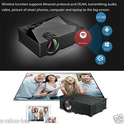 Projecteur LCD LED HD 1080P WiFi Sans Fil 1200 Lumens HDMI Phone DNLA USB SD 2M