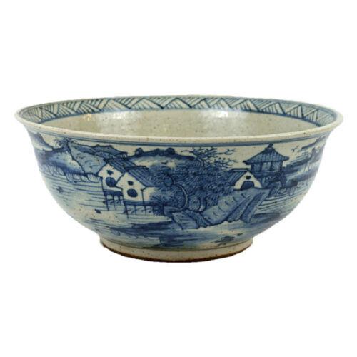 """Large Blue and White Porcelain Landscape Motif Bowl 15.5"""" Diameter"""