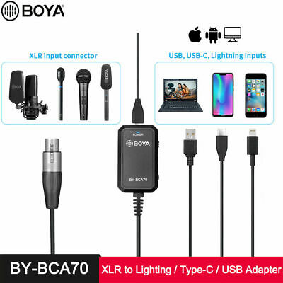 BOYA BY-BCA70 XLR to Lighting Type-C USB Audio Adapter Cable for iPhone...