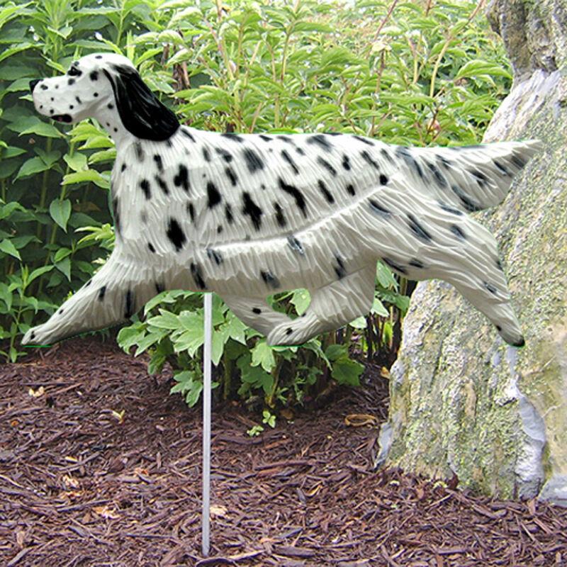 English Setter Outdoor Garden Dog Sign Hand Painted Figure Blue