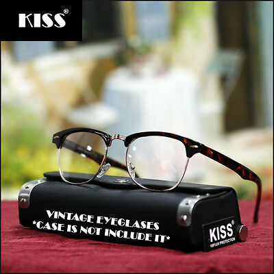 Mens Womens Retro Tortoise Brown Fashion Eyeglasses Vintage Geek Clear Eye (Geek Wear Glasses)