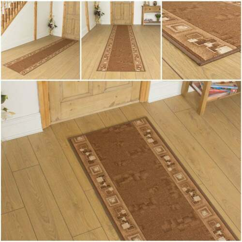corona brown hallway carpet runner rug mat long hall anti non slip gel back ebay. Black Bedroom Furniture Sets. Home Design Ideas