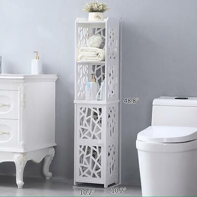 Tall Corner Bathroom Cabinet Tower Shelf Side Toilet Storage Organizer White