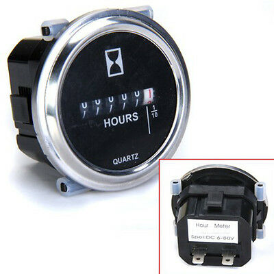 Waterproof Hour Meter 6 To 80 Volts Dc High Accuracy Round Silvery Trim Ring