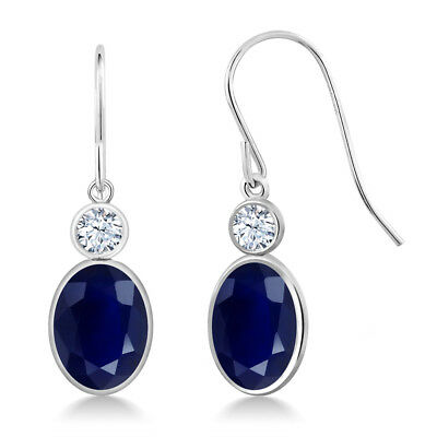 - 3.80 Ct Oval Blue Sapphire 14K White Gold Earrings