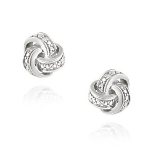 Silver Tone Diamond Accent Love Knot Earrings
