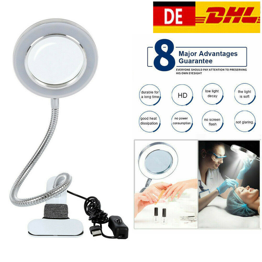 LED Lupenleuchte 8 Dioptrien Arbeitsleuchte Lupenlampe Lupe Kaltlicht Kosmetik