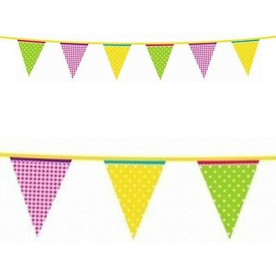 13ft Summer Garden Party Green Yellow Pink Plastic Pennant Banner - Pennant Banner