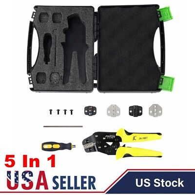 5 In 1 Cable Wire Crimper Pliers Ratcheting Terminal Crimping Tool Kit Usa