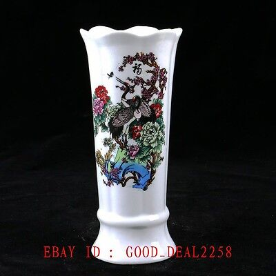 Old Chinese Porcelain Handwork Painted Lotus&Calligraphy Vase With Qianlong Mark