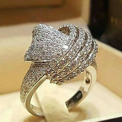 White Gold Ladies Bridal Rings - Ladies White Gold Women Clear Zircon Ring Elegant Wedding Engagement Size 6-10
