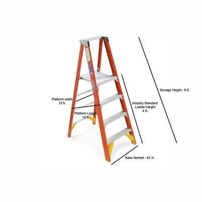 10 Ft. Reach Fiberglass Platform Step Ladder With 300 Lb. Load Capacity Typ