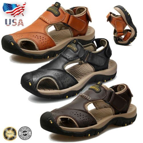 Men Sports Closed Toe Water Sandals Outdoor Leather Casual H
