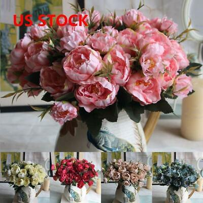 Artificial Peony Silk Flowers Leaf Bouquet Home Floral Wedding Garden DIY Decor
