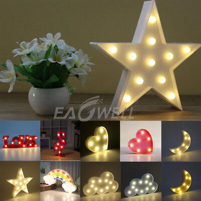 (Alphabet Star Moon Letter LED Night Light Wall Lamp Baby Kids Bedroom Home Decor)