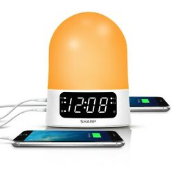 Sharp Sunrise Simulator Alarm Clock with Blue Tooth & USB ports White