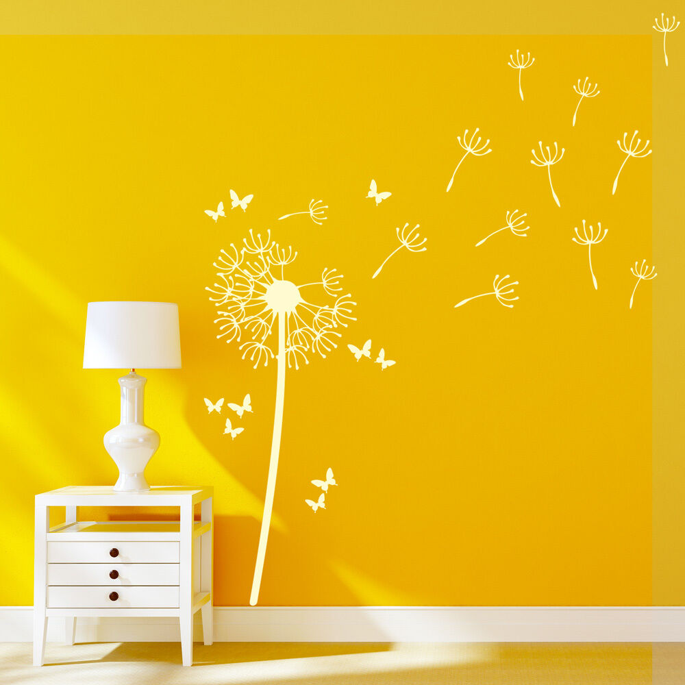 Home Decoration - Flower Dandelion Wall Art Stickers Butterflies Vinyl Decals Home Graphics decor