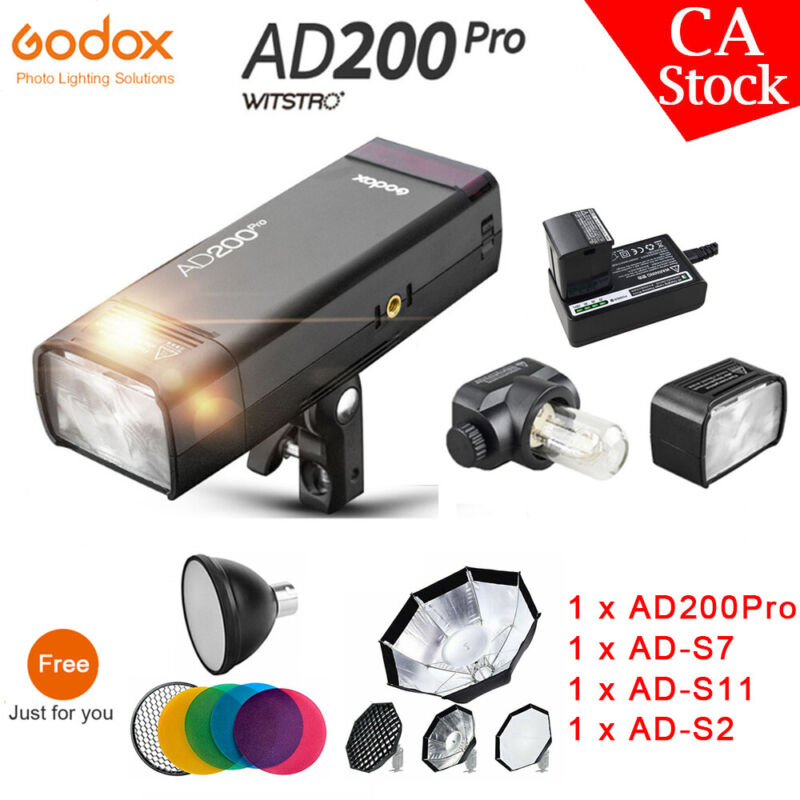 US Godox AD200Pro 2.4G Wireless TTL HSS Li-ion Pocket Flash + AD-S7+AD-S2+AD-S11
