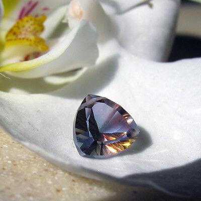 1 ametrin farbene mystic topas triangel  concave perle  gebohrt  ca. 9x9mm
