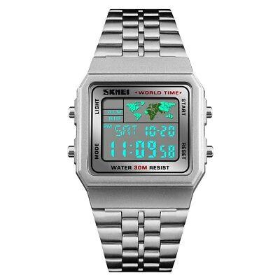 Skmei Men Military Stainless Steel World Time Led Sports Digital Quartz Watch