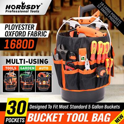 (5 Gallon Bucket Organizer Tote Bag Gardening AUTO Tool Holder 30 Storage Pocket)