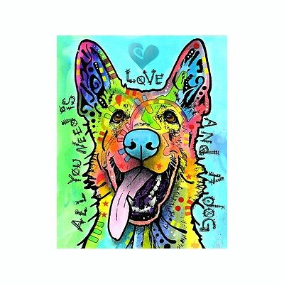 German Shepherd All You Need Is Love And Dean Russo Vinyl Dog Car Decal Sticker