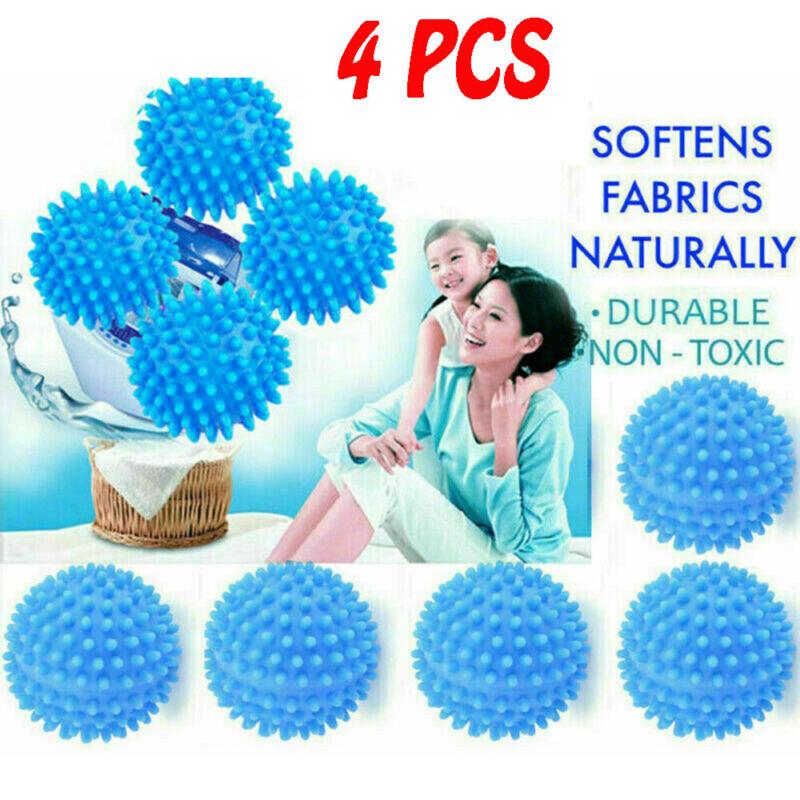 Blue PVC Reusable Dryer Fabric Softener Ball 4PCS-^