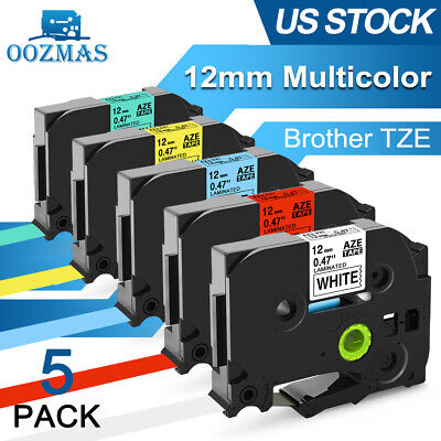 Tz-231 Tze-231 Pt-d210 5 Pk Compatible Label Maker Tape 12mm For Brother P-touch