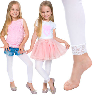 Girls Breathable Soft Full Length Kids White Leggings with Lace Age 1-13 6011