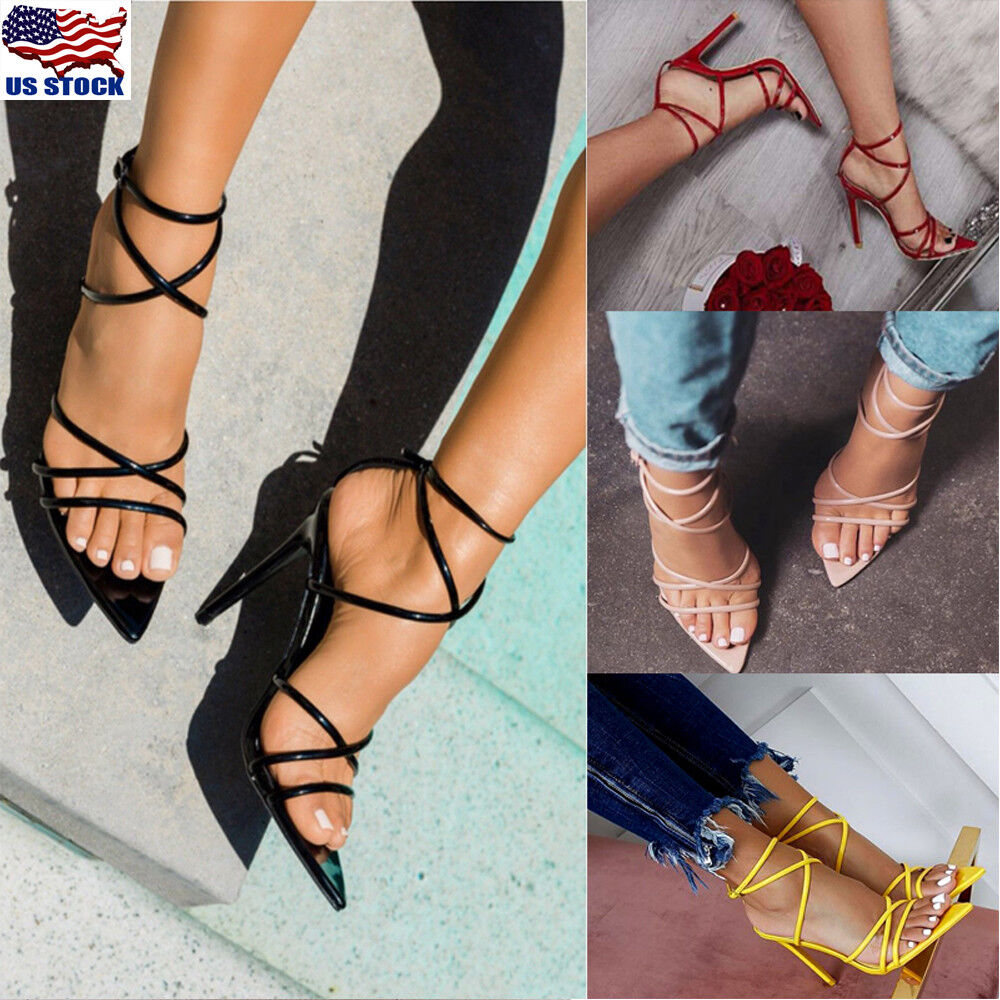 Sexy Women's High Heels Sandals Lace Up Ladies Open Toe Evening Party Shoes Size