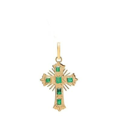 18K Yellow Gold Colombian Emerald Cross Pendant 27.0mm X (18k Green Cross)