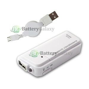 Portable Battery Charger Usb Micro Data Retractable Cable