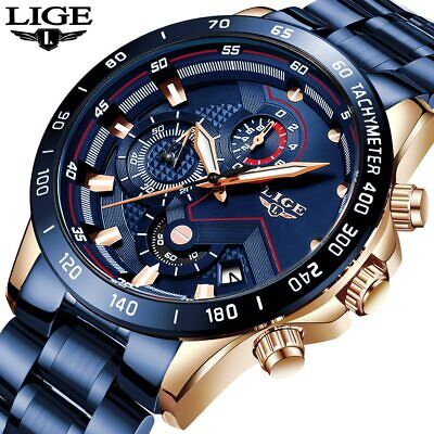 Mens LIGE Watch Pro Blue Diver Dial Quartz Stainless Steel Bracelet watches+box