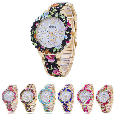 Luxury Women Stainless Steel Watch Flower Print Analog Quartz Wrist Watch