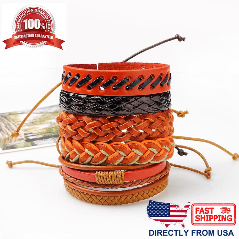 6pcs Set Orange Brown Black Leather Men Women Hippie Cuff Wristband Bracelet Bracelets