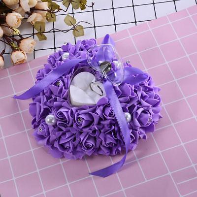 Ringkissen Hochzeit Box Herz Ehering Kissen eleganter Satin Flora Romantic Rose
